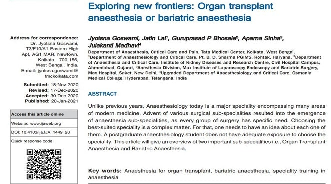 Exploring new frontiers: Organ transplant anaesthesia or bariatric anaesthesia